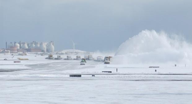 Clearing the runways at Logan International Airport in Boston